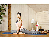 Young Woman, Home, Gymnastics, Yoga Exercises