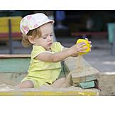 Girl, Playing, Sandbox