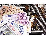 Euroscheine, Recycling, Altmetall