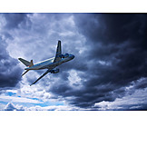 Airplane, Flying, Thunderclouds
