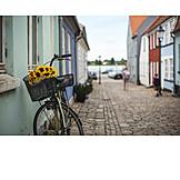 Bicycle, Old Town, Idyllically, Scandinavia