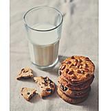 Milk Glass, Cookies, American Cuisine