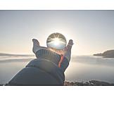 Sun, Lake, Crystal Ball