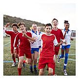 Mädchen, Fußball, Teamgeist, Jubel, Jungs