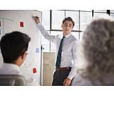 Businessman, Presentation, Whiteboard