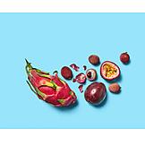 Lychee, Dragon fruit, Passion fruit