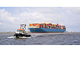 Boating, Tugboat, Container ship