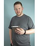 Mann, Mobile Kommunikation, Tablet-pc