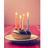 Birthday, Candlelight, Donut