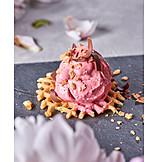 Dessert, Strawberry Ice Cream, Waffle