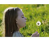 Girl, Dandelion, Blowing