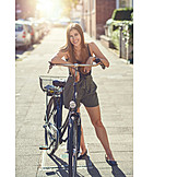 Young Woman, Urban Life, Bicycle