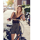 Young Woman, Bicycle, Summer