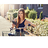 Young Woman, Bicycle, Mobil, Smart Phone
