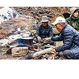 Cooking, Campfire, Trekking Tour