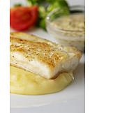 Fish Dish, Mashed Potato, Halibut