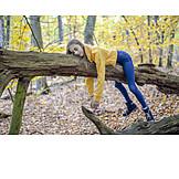 Girl, Tree Trunk, Relax