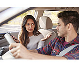 Paar, Autofahrt, Streiten