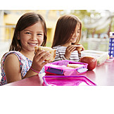 Eating, Schoolgirl, Packed Lunch