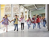 Running, Holding Hands, Elementary Student