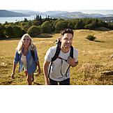 Couple, Hiking, Uphill