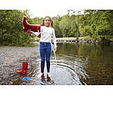 Girl, Wet, River, Galoshes