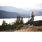Woman, Hiking, View