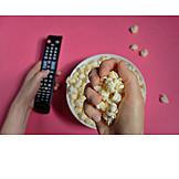 Eating, Watching Tv, Popcorn