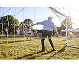 Grandson, Grandfather, Soccer, Playing