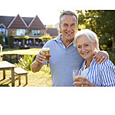 Drinking, Garden, Together, Older Couple