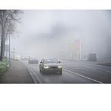 Fog, Street, Cars