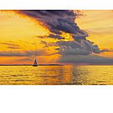 Sunset, Sailboat, Baltic Sea Coast