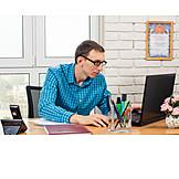 Laptop, Desk, Employee
