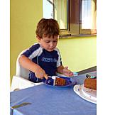 Boy, Eating, Chocolate Cake