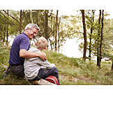Grandson, Grandfather, Nature, Break