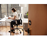 Business Woman, Desk, Concentrated
