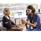 Measuring, Blood Pressure, Patient, Doctor
