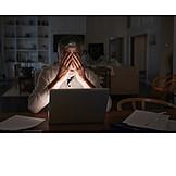Mann, Laptop, Erschöpft