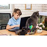 Girl, Typing, Laptop, Desk