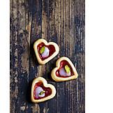 Gebäck, Plätzchen, Kekse, Mürbegebäck, Pariser Herzen