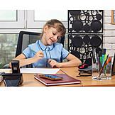 Girl, Office, Desk