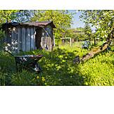 Garten, Holzschuppen