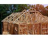 Building Construction, Construction Site, Wooden Construction