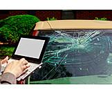 Schreiben, Laptop, Bericht, Unfallauto