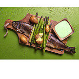 Green Asparagus, Trout, Fish Dish