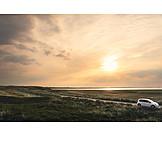 Sonnenuntergang, Auto, Sylt