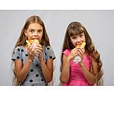Mädchen, Essen, Hungrig, Imbiss