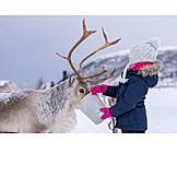 Girl, Feeding, Reindeer