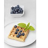 Waffle, Blueberry, Dessert