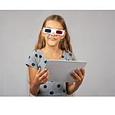 Girl, School, 3d, Mint, Virtual, 3d Glasses
